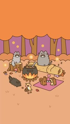 Pusheen de camping Pusheen Christmas, Kawaii Wallpaper, Sea Wallpaper, Cute Fall Wallpaper, Kawaii Drawings, Cute Drawings, Kawaii Cute, Cute Cartoon, Cute Backgrounds