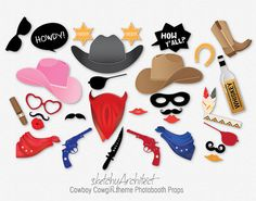 Cowboy Cowgirl Photobooth Props ( Digital )- Instant Download | Cow Boy Cow Girl theme Party Photo booth Prop DIY    ★ Instant Download