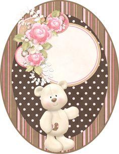 Fazendo a Propria Festa: marrom e rosa Printable Box, Printables, Baby Cartoon Drawing, Imprimibles Baby Shower, Teddy Bear Party, Scrapbook Images, Rose Tutorial, Gold Baby Showers, Tatty Teddy