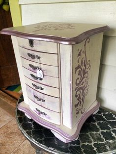 Shabby Chic Painted Large Jewelry Box Armoire Violet White by Decoandrust on Etsy https://www.etsy.com/listing/209156366/shabby-chic-painted-large-jewelry-box