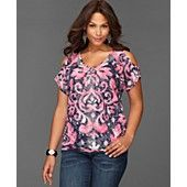 INC International Concepts Plus Size Top, Short-Sleeve Cutout Printed Rhinestone