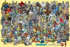 Artist Richard Sargent created the illustration you see below which features 180 various robots from movies, television and other pop culture. A nod to the popular Where's Waldo puzzles of yesterday, the picture is called Where's Wall-E and it invites you to find the happy-go-lucky Pixar fella.
