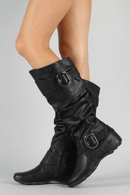 Soda Merger-S Leatherette Buckle Slouchy Knee High Boot