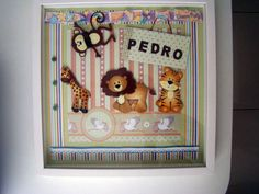 Quadro Porta de maternidade com tema safari em scrapbook  moldura laqueada com vidro. R$ 100,00