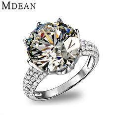 MDEAN 큰 CZ 다이아몬드 보석 화이트 골드 채워진 반지 럭셔리 약혼 웨딩 bague 여성 비쥬 액세서리 MSR064