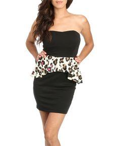 Tube Leopard Peplum Dress (Black). Wet Seal. $29.50