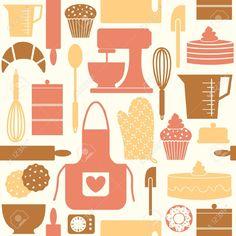 Modello, Seamless, Modello Seamless, Cucina, Cottura, Cuocere, Cuoco, Cottura, Forno, Carta Da Parati, Retro, Vintage, Stile, Cute, Antiquato, Muffin, Cupcake, Biscotto, Croissant, Frusta, Ciotola, Spatola, Matterello, Misurino, Guanto Da Forno, Grembiule, Cucchiaio, Cuttin Clipart Royalty-free, Vettori E Illustrator Stock. Pic 12980873.