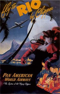 """Pan AM """"Rio by Clipper"""" Travel Poster"""