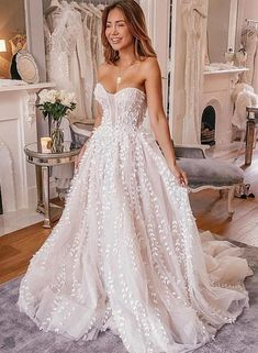 Organza Wedding Dresses White sweetheart neck tulle applique long prom dress, evening dress – trendty - White sweetheart neck tulle applique long prom dress, evening dress, Customized service and Rush order are available Popular Wedding Dresses, Wedding Dress Trends, Dream Wedding Dresses, Designer Wedding Dresses, Bridal Dresses, Wedding Dress Pink, Unique Wedding Gowns, Wedding Dresses With Color, Wedding Dress Big Bust