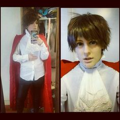 I'm a vampire today. Rawr~  Happy Halloween guys!  #halloween #happyhalloween #halloweencostume #halloweenmakeup #vampire #vampireteeth #fangs #wig #cape #vampirecape #dracula #traditionalvampire #costume #spooky #leatherpants #cravat