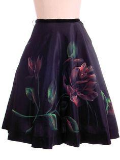 """Vintage Circle Skirt Hand Painted Rose On Black 1950S 30"""""""" Waist"""