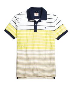 5e2d4000d2 Variegated Stripe Polo Shirt Yellow Striped Polo Shirt