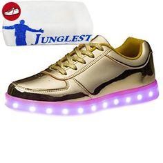 (Present:kleines Handtuch)Gold EU 44, Sportschuhe Sport Aufladen Farbe Leuchtend JUNGLEST® für Unisex-Erwachsene LED Turnschuhe Schuhe Snea