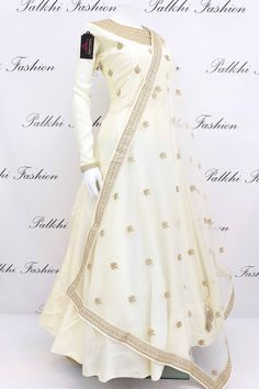 Off White Soft Silk Designer Outfit With Appealing Work Dupatta Enrich your outlook wearing this stylish off white soft silk outfit with elegant work. This gorgeous dress comes with attractive worked duppata Indian Fashion Dresses, Indian Gowns Dresses, Dress Indian Style, Indian Designer Outfits, Pakistani Dresses, Indian Outfits, Indian Designers, Kurti Designs Party Wear, Lehenga Designs