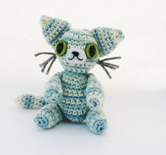 Striped Blue Cat Amigurumi Plush Doll by CuteWorkshop on Etsy, $22.00