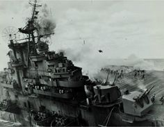 Sailors on USS Franklin trying to flee from explosions after the aircraft carrier has been hit by Japanese bombs, March 1945.[1247x968]