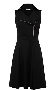 Black Lapel Sleeveless Zipper Ruffles Dress