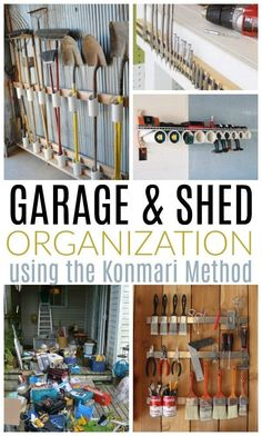 Garage and Shed Organization with the Konmari Method : Inside: Tackle the most disorganized area in your home or property! Garage and shed organization ideas, plus how to use the super popular Konmari Method to keep the clutter at bay for good. Tool Shed Organizing, Garage Workshop Organization, Storage Shed Organization, Diy Garage Storage, Garden Tool Storage, Storage Sheds, Storage Hacks, Organizing Ideas, Storage Tubs