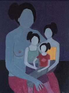 Portrait of great-grandmother, grandmother, mother and daughter - Mateo Zareba - 1970
