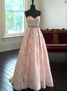 blush pink prom dress,long Prom Dress,lace prom dress,sweetheart evening dress,evening gown 2017,BD2897