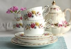 Pretty tea set for a summer day: Royal Stafford bone china tea cup, saucer and plate, perfect for a summer tea party. $23.00, via Etsy.