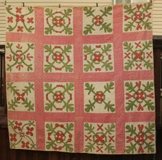 Antique 1800's Red and Green Applique Quilt  Signed Dated