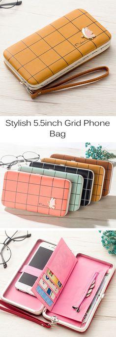 US$11.88 Stylish 5.5inch Grid Phone Bag /Card Wallet  /Clutch Bag #fashion #style