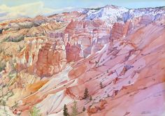 """Watercolor by Leslie White, """"Bryce Canyon"""" http://www.trailheadstudios.com/index.html"""