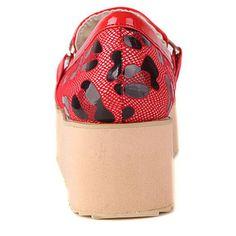 Leopard Patchwork Metal Belt Patent Leather Red Platform Shoes