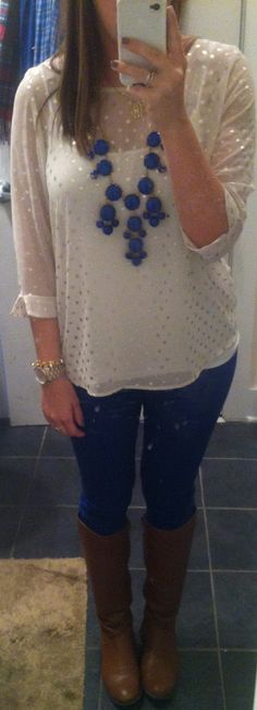blue pants, brown boots, white polka dotted blouse and a jcrew statement necklace. Perfection <3