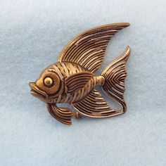 Spanish Damascene Angel Fish Brooch With Trombone Clasp, 1950s