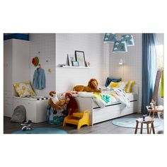 SLÄKT Bed frame w/pull-out bed + storage, white, Twin. Under this bed frame there is an extra bed and 2 drawers for the quilt and pillow. Childrens Single Beds, Bed With Underbed, Pull Out Bed, Black Bed Linen, Bed Linen Online, Bed Slats, Buy Bed, Quartos, Ideas