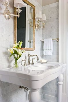Before and After: Classic Maryland Home - Traditional Home® . My thought - I keep being drawn to pedestal sink - this better than most and definitely better than most typical powder room vanities. BRASS!