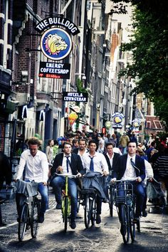 Commute Bicyclers in Amsterdam, Holland, Netherlands.