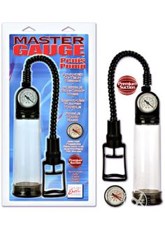 "MASTER GAUGE PENIS PUMP - Brand new design! Hi-tech pump has an easy-to-read built-in gauge, clear vacuum tube with measures, flexible non-crimping hose, easy-to-use pumper handle, jelly soft donut ring for comfort, and a quick release valve for maximum results. Cylinder: 8.00"" X 2.75"""