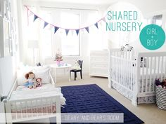 Boy and girl shared nursery: Blue + pink = happy - Splash of Something Boy Girl Shared Room. Canvas bin for stuffed animals. Baby And Toddler Shared Room, Boy And Girl Shared Room, Shared Boys Rooms, Boy Girl Bedroom, Toddler Rooms, Boy Room, Kids Rooms, Girl Toddler, Childs Bedroom