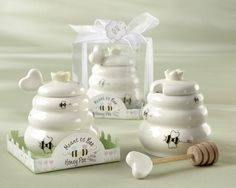 """""""Meant to Bee"""" Ceramic Honey Pot with Wooden Dipper - Mochabride.com"""