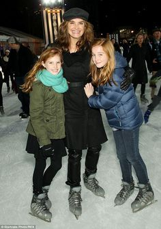 ce princesses: Brooke Shields took daughters Rowan, 11, and Grier, eight, ice skating while attending the Penguins Of Madagascar premiere in New York on Sunday.