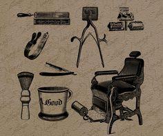 Antike Barbershop Tools ClipArt Illustration von nannyscottage