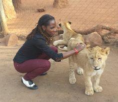 Luvvie petting lion cub