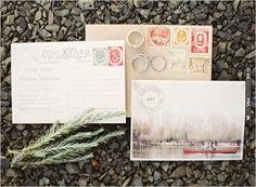 vintage postcard wedding invitation | VIA #WEDDINGPINS.NET