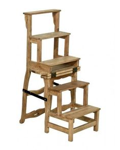 Timber Mahogany Wooden Folding Library Step Ladder Chair Brand