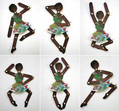Voici la fiche créative qui permet de réaliser de petites danseuses articulées en carton. Un art plastique simple à réaliser avec des enfants, pour le plus grand bonheur des parents ou des instituteurs. Une fois terminé, les enfants pourront ensuite s'amuser avec ces figurines comme de vraies petites marionnettes. Merci au blog des mamans de laitfraise pour cette idée créative astucieuse.