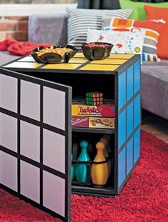 DIY Project I can totally make happen.Rubik's Cube coffee table how-to, by B… DIY Project I can totally make happen.Rubik's Cube coffee table how-to, by Better Homes and Gardens. Cube Coffee Table, Cube Table, Deco Gamer, Glass Tile Bathroom, Gamer Room, Nerd Room, Nerd Cave, Geek Man Cave, Nerd Geek