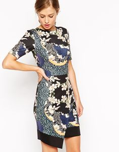 Dress with Asymmetric Hem in Japanese Blossom