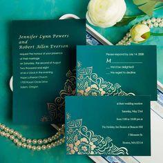 $1 Affordable elegant damask green wedding invitations EWI029