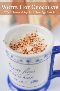 White Hot Chocolate {Low-carb Sugar free THM:S Gluten Egg and Peanut Free} - for all those of you who are tired of chocolate if such a thing can happen. Trim Healthy Mama Plan, Trim Healthy Recipes, Thm Recipes, Sugar Free Recipes, Drink Recipes, Dessert Recipes, Sugar Free Hot Chocolate, Hot Chocolate Recipes, Drinking