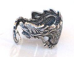 Steampunk - DRAGON RING - Antique Silver - Sea Dragon - Wraps Around Your Finger - Neo Victorian - By GlazedBlackCherry on Etsy, £15.70