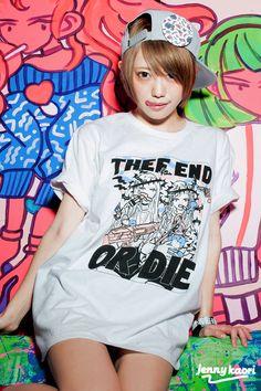galaxxxy × jennykaori 'HYPER THUG MARKET' collaboration Tshirts (2015) (model:篠崎こころ/プティパ -petit pas!)