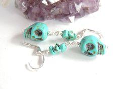 Turquoise Skull Earrings Skull Earrings Day Of by AlwaysCrafty77, $12.00